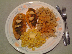 Rice Corn and Baked Chicken